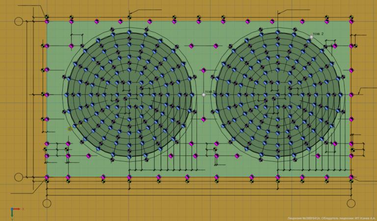 Схема расположения свай и вертикальных термостабилизаторов в модели для расчет температур грунтов резервуарного парка V=2000 м3