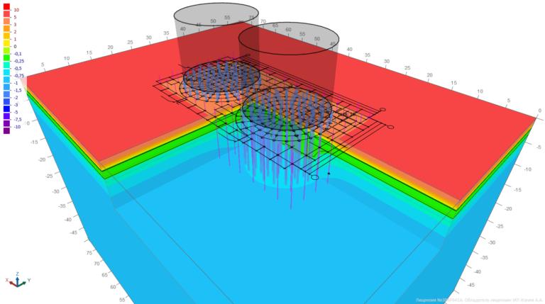 Трехмерное температурное поле в основаниирезервуарного парка V=2000 м3