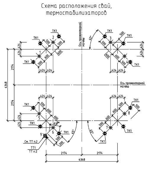 Прожекторная мачта ПМС35м43. Схема свай и СОУ